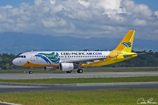 A Cebu Pacific A320-200 arriving at the Bacolod-Silay Airport.