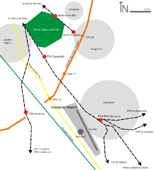 Location of Ciampino Airport. Rome is to the northwest.