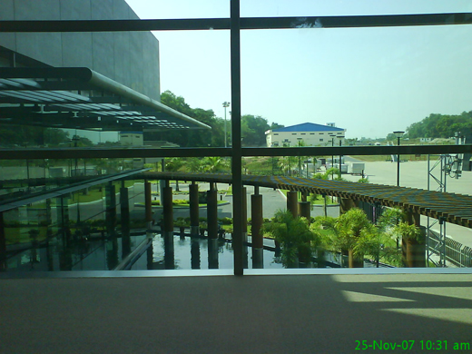 The Courtyard seen inside from the airport departure lounge
