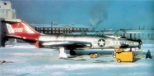 McDonnell F-101A-10-MC Voodoo Serial 53-2433 undergoing cold weather testing.