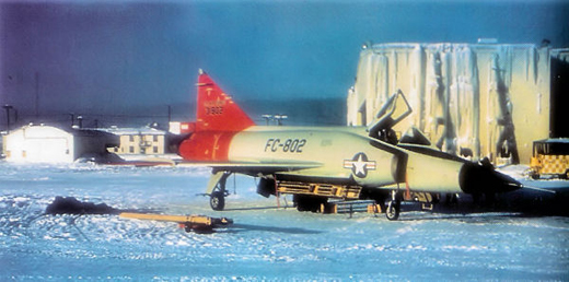 Convair F-102A-15-CO Delta Dagger Serial 53-1802 undergoing cold weather testing.