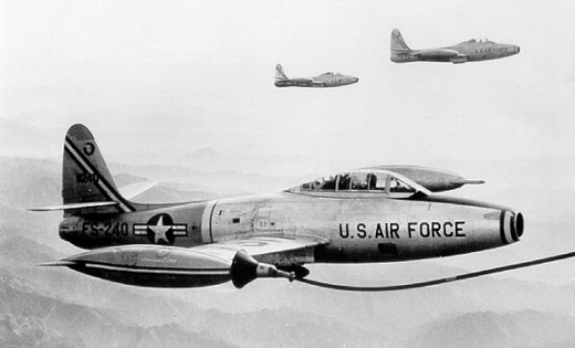 F-84G-25-RE Thunderjet AF Serial No. 52-3249 of the 49th Fighter-Bomber Wing being refuled over Korea, 1953