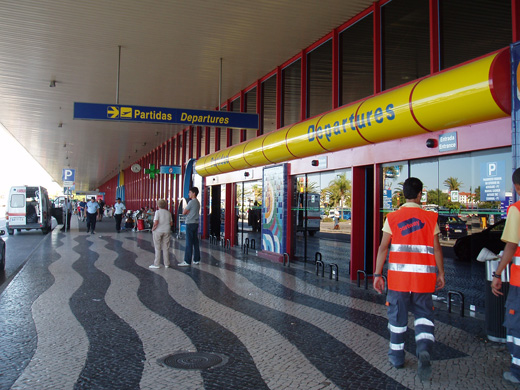 Departures terminal at Faro Airport.