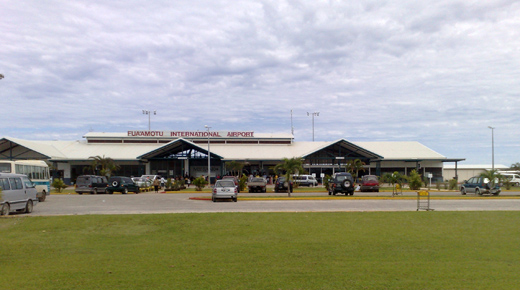 Passenger terminal of Fuaʻamotu International Airport, seen from the front