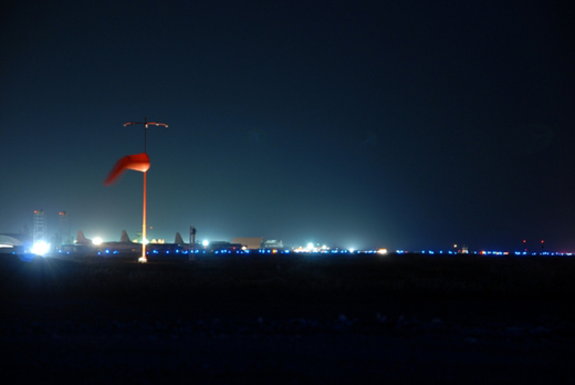 Night view of Kandahar Airport in 2007.