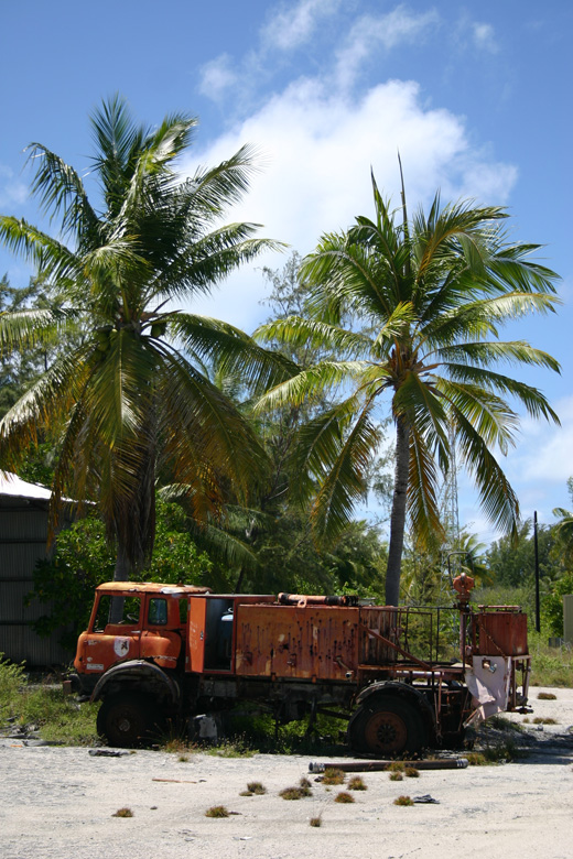 Rusting fire truck on Kanton Island, 2008.