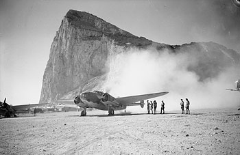 A Lockheed Hudson of No. 233 Squadron RAF leaves its dispersal at Gibraltar for a reconnaissance sortie, in August 1942.