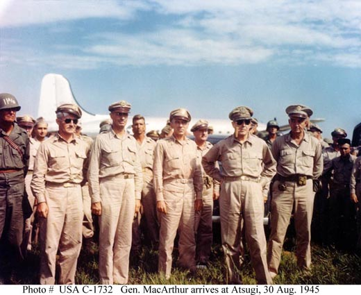 Arrival of General Douglas MacArthur (second from right) at Atsugi, 30 August 1945