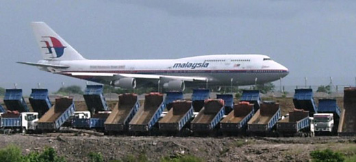 Malaysia Airlines Boeing 747 at the runway