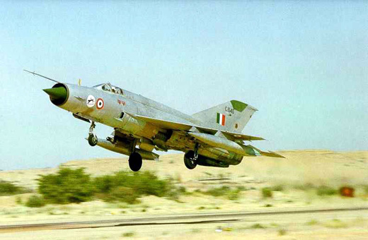 A Mig21M under IAF operation. This aircraft belongs to the No.37 Panthers Squadron, as shown by the emblem on the nose.