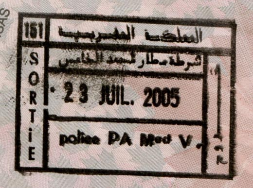 Exit stamp from airport.