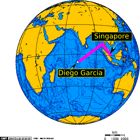 MV Baffin Strait transits between Singapore and Diego Garcia once a month.
