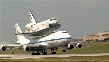 Space Shuttle Atlantis being shuttled through Offutt following a mission on July 1, 2007.