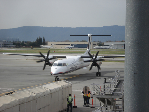 A Horizon Air Q400 arriving at Terminal C in March 2010