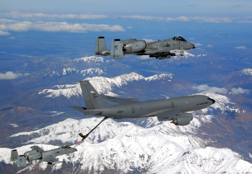 An A-10 Thunderbolt II is refueled mid-air by a KC-135 Stratotanker from the Alaska Air National Guard's 168th Air Refueling Wing.