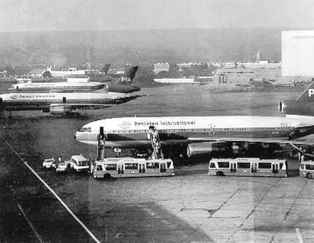 PIA aircrafts at Karachi airport in the 1980s