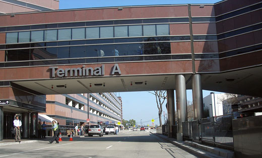 Walkway that connects parking garage (left) to Terminal A proper (right).