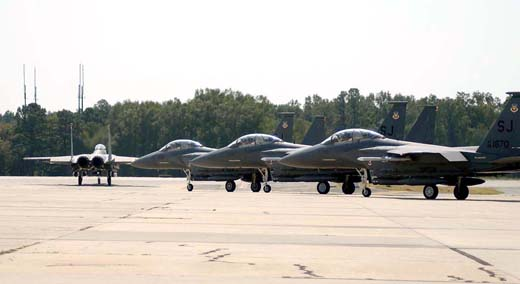 4th FW F-15E's preparing to taxi at Seymour Johnson Air Force Base.
