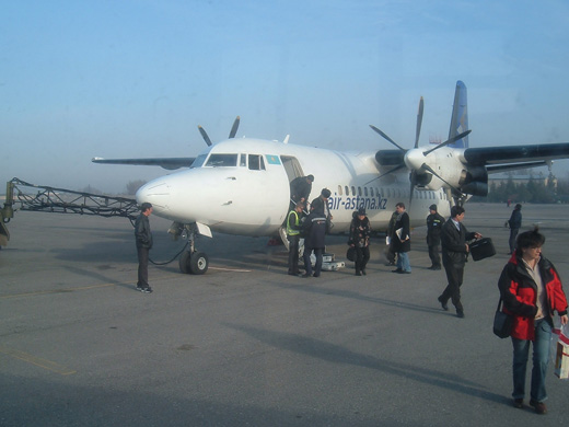Fokker 50 parked at the airport