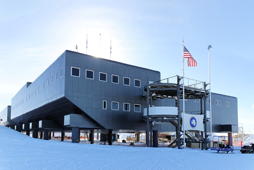 A view of the Amundsen-Scott Station in 2009. In the foreground is