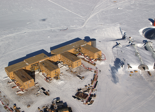 An aerial view of the Amundsen-Scott Station in January 2005. The older domed station is visible on the right-hand side of this photo.