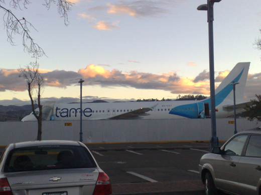A TAME Airbus A320 with the new colors parked in the Mariscal Lamar Airport in Cuenca, Ecuador