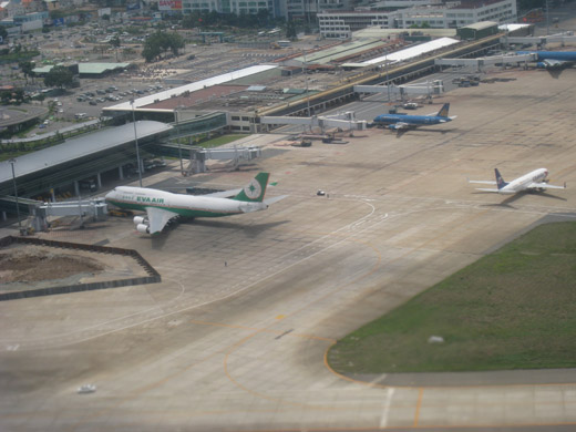 Domestic terminal and partial view international terminal from above, in 2009
