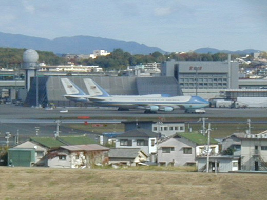 Air Force One aircraft parked at Osaka Airport