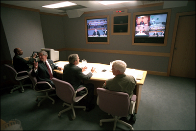Pres. Bush at Offutt command bunker on September 11, 2001