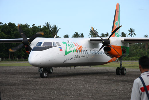 A Zest Airways MA-60 arrives at Marinduque.