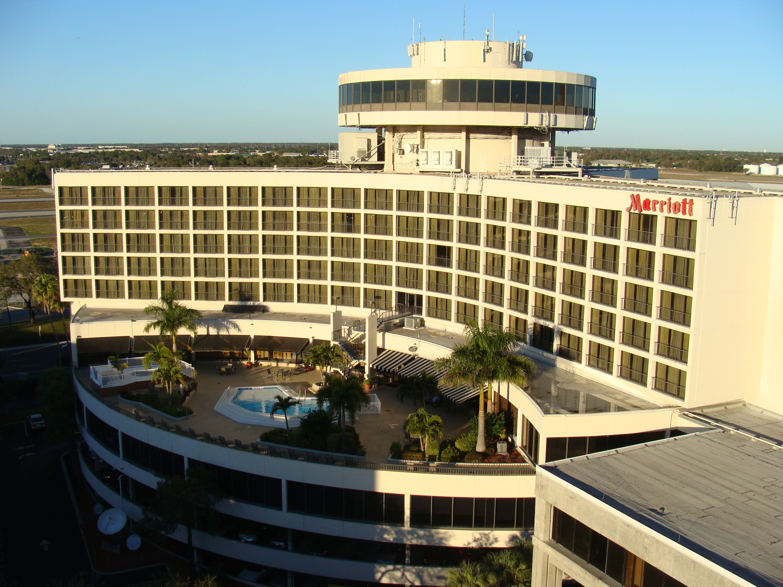 The marriott located adjacent of the parking garage