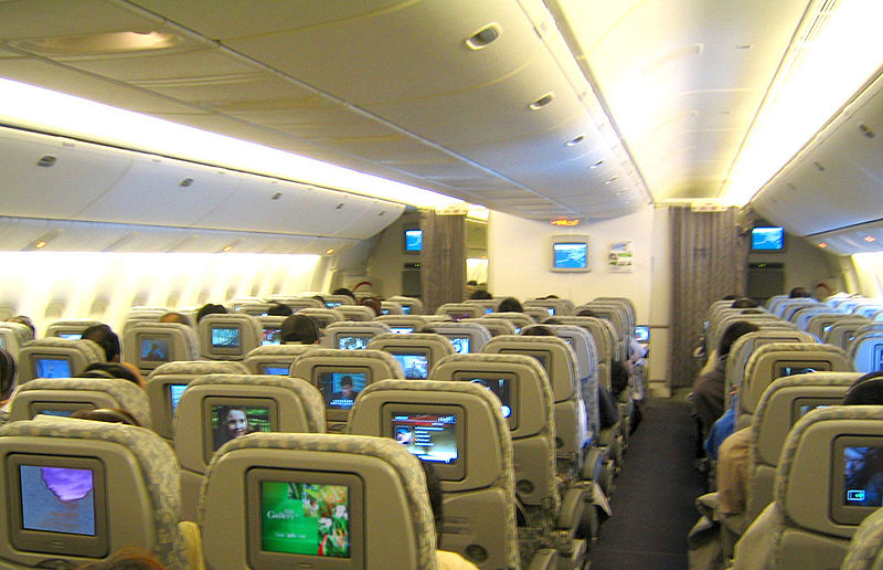 american airlines boeing 777 interior. Economy class interior of EVA