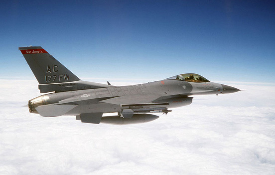 An F-16 Fighting Falcon, a US military fixed-wing aircraft