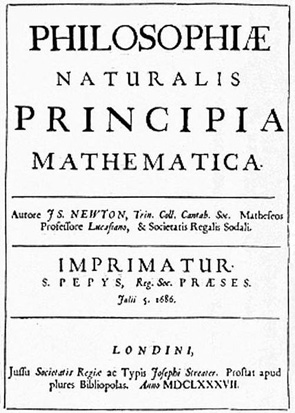 Title page of the 1st edition of Isaac Newton's Principia defining the laws of motion.