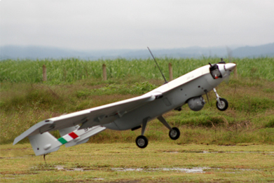 The Mexican unmanned aerial vehicle S4 Ehécatl at take-off