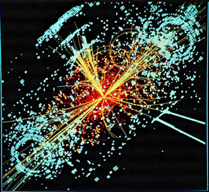 A simulated event in the CMS detector of the Large Hadron Collider, featuring the appearance of the Higgs boson.