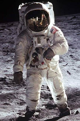 Astronaut Buzz Aldrin in a space suit on the 1969 Apollo 11 moonwalk