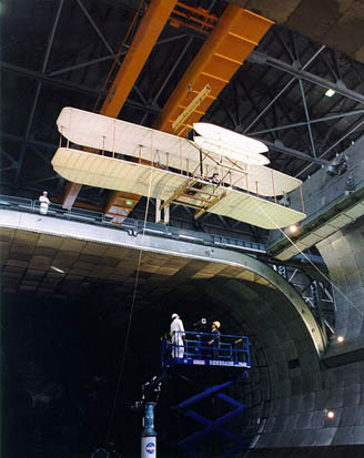 The AIAA's Flyer reproduction undergoing testing in a NASA wind tunnel.