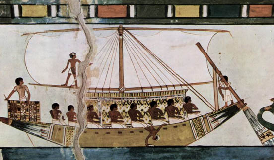 Stern-mounted steering oar of an Egyptian riverboat depicted in the Tomb of Menna (c. 1422-1411 BC)