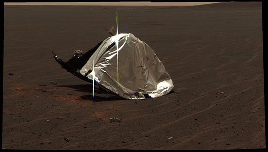Discarded heat shield of the Opportunity rover on Mars. It has been inverted by its impact with the ground.