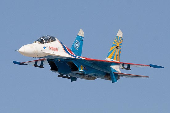 A Sukhoi Su-27UB of the Russian Knights aerobatic team showing two vertical stabilizers