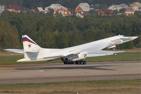 The Tupolev Tu-160, a supersonic, variable-geometry heavy bomber