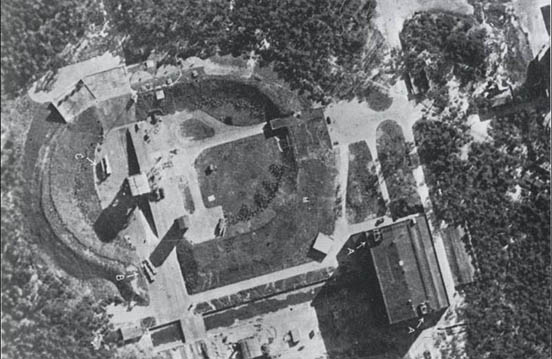 June 23, 1943 RAF reconnaissance photo of V-2s at Test Stand VII