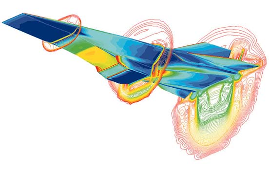 Computational fluid dynamic (CFD) image of the X-43A with scramjet attached to the underside at Mach 7