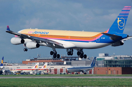 An airliner landing at London Heathrow Airport (Air Jamaica Airbus A340-300)