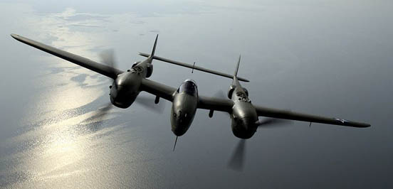 The P-38 Lightning, a twin-engine fixed-wing aircraft with a twin-boom configuration.