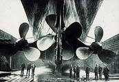 Propellers of the Titanic: 2 triple-blade and 1 quadruple-blade at center