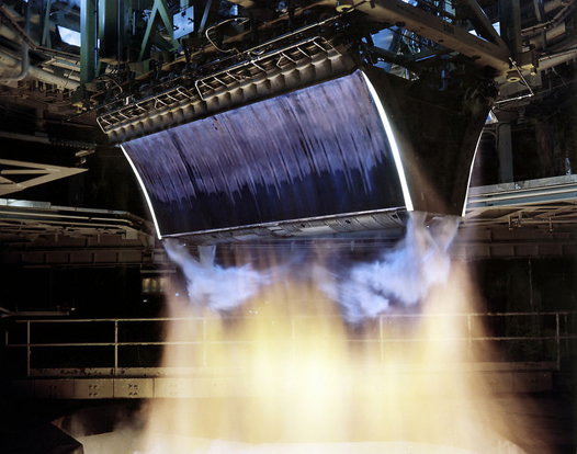 XRS-2200 linear aerospike engine for the X-33 program being tested