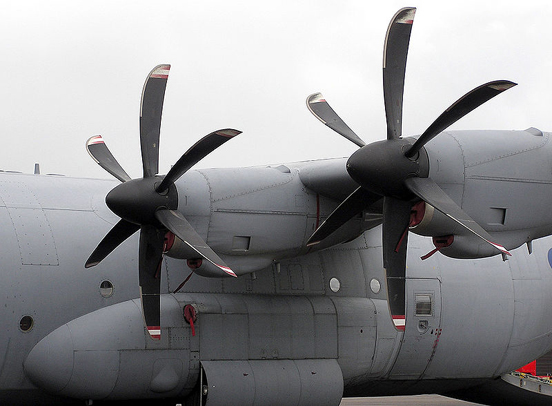 The propellers of an RAF Hercules C.4 in feather position