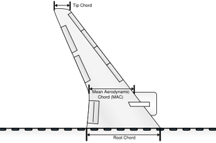 The various chords on the planform of the swept-wing of an aircraft